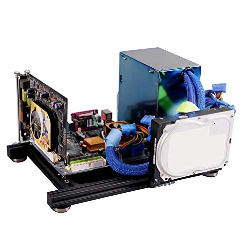 DIY Open-Frame-Gehäuse, Open-Frame-Wärmeableitung Aluminiumlegierung Computer-PC-Gehäuse-Gehäuse für ITX, ATX-Unterstützung, gewöhnliches großes Netzteil, aus hochwertigem 20x20-Aluminiumlegierungsmat