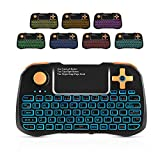 AMBOLOVE Mini Wireless Keyboard,Gaming Keyboard with Rocker Cap Backlit USB Keyboard with Touchpad,Rechargeable Handheld Remote Control for Laptop/PC/Windows/Mac/Smart TV/Xbox/PS3