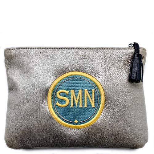 SIGN of MINE Pochette con parche personalizable, etiqueta bordada, piel de becerro, bolsa de aseo...