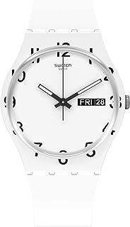 Swatch Quartz Silicone Strap, White, 16 Casual Watch (Model: GW716)