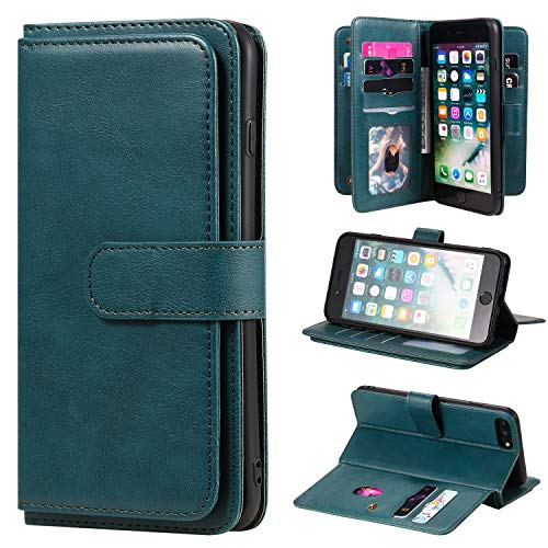 Brieftasche Etui Kompatibel für iPhone 8 Plus 7 Plus/iPhone 6S Plus 6 Plus Folio Standfunktion PU Lederschutz mit Kreditkartenfächern+Seitlicher Geldtasche+Verschluss mit Magnetverschluss - Dunkelgrün