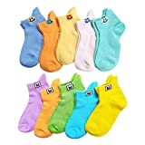 VWU Kids Ankle Socks Thin Cotton Socks Cute Pattern Breathable Mesh 1-10 Years Girls Boys (Solid Color 10pcs, 1-3 Years Old)
