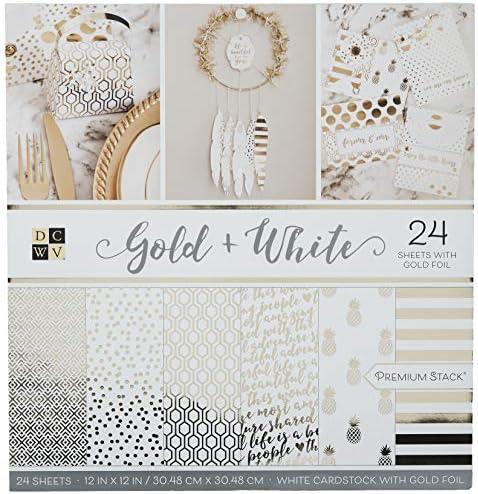 DCWV Card Stock 12X12 Indigo Kraft and Rose Gold Premium Printed Stack
