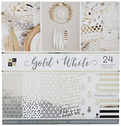 DCWV Kartenstapel, 30,5 x 30,5 cm, Gold und Weiß