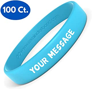 Silicone Wristbands - 100 Pack - Personalized Customizable Rubber Bracelets - Customized for Motivation, Events, Gifts, Support, Causes, Fundraisers, Awareness - Men, Women
