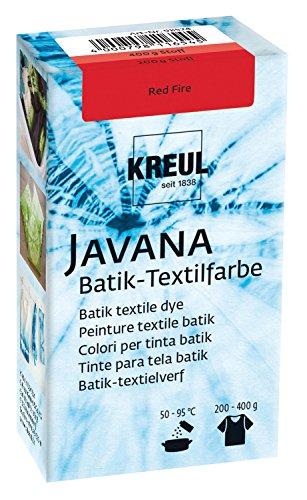 Kreul 98524 - Javana Batik Textilfarbe, 70 g Farbpulver in Red Fire, zum Färben von Textilien mit der Shibori Technik
