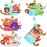 Magkay Soft Baby Cloth Books, Touch and Feel Crinkle Books for Babies, Baby Girl & Baby Boy Gifts, Baby Toys 0 6 12 Months- Toddler & Infant Early Development Shower Toys (Jungle Tails)