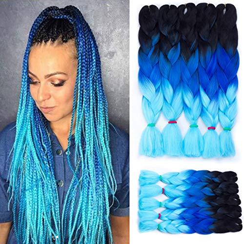 3 Tone Jumbo Braiding Hair 24 Inch 100G/Pack Twist Crochet Hair Braids Box Braiding Synthetic Hair Extensions 5 Pcs/Lot for Full Head Jumbo Hair Weave (Black-Dark Blue-Light Blue)