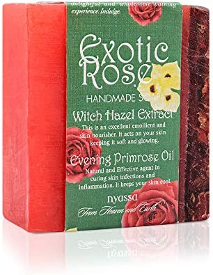 Nyassa Exotic Rose Handmade Soap 150 gm from India with witch hazel extracts and evening primrose product image