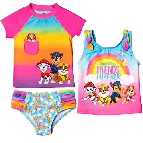 Paw Patrol Toddler Girls 3 Piece Rash Guard Tankini Swimsuit Set Rainbow 5T
