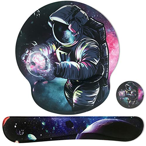 Sosolong Space Mouse pad for Boys and Gaming, Astronaut Mouse pad, Keyboard Wrist Rest and Mouse Wrist Rest Pad, Gaming Mouse pad with Wrist Support, Memory Foam Mouse Pad (Spaceman)