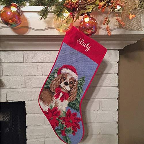 BYRON HOYLE Cavalier WSanta Hat Stocking Personalized Dog Christmas Stocking Dog Stocking Blenheim Cavalier King Charles Needlepoint Stocking Fireplace Hanging Stockings for Family Christmas Decor