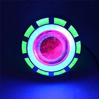 MeiBoAll Motorcycle LED Headlight,DC12V-80V Universal Hight Power Super Bright Angel Eyes Light Double Light Lens Headlamps