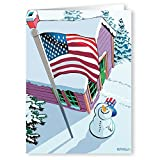 Patriotic Snowman and Flag Christmas Card 18 Cards and 19 Envelopes - American Flag Cards
