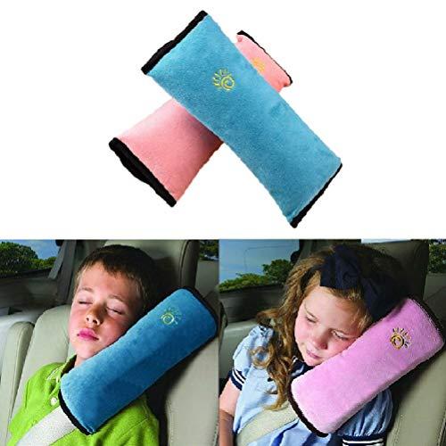 2 Stück Gurtpolster Schlafkissen Nackenstütze für Kinder, Auto Sicherheitsgurt Autositz Kopfkissen Gürtel Pillow Schulterschutz (Blau & Rosa)