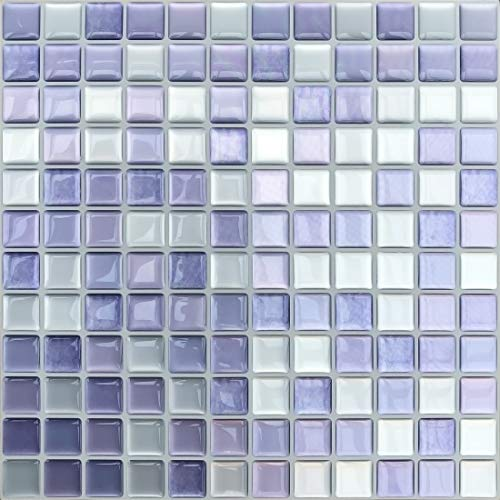 APSOONSELL 3D Mosaic Peel and Stick Wallpaper Color Block Stickers Square Tile Wallpaper Self Adhesive Decorative Wall Decor, 9.3 x 9.3 inch, (Set of 4), Purple