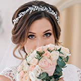 Unsutuo Wedding Hair Vine Silver Crystal Bride Headbands Pearls Bridal Hair Accessories for Bride and Bridesmaids