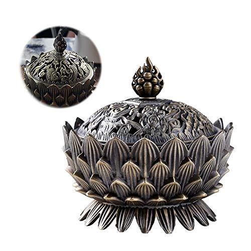 Mrriyai Incensario de Metal Lotus Quemador de Incienso Lotus Vintage Quemador de Incienso Flor de...