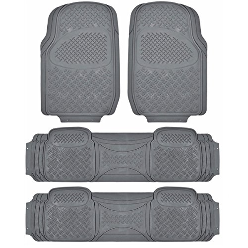 BDK Heavy Duty VAN SUV Rubber Floor Mats - 4 Pieces 3 Rows Full Set- All Weather Trimmable Mat (Gray) - MT-713-711-GR_AMHD