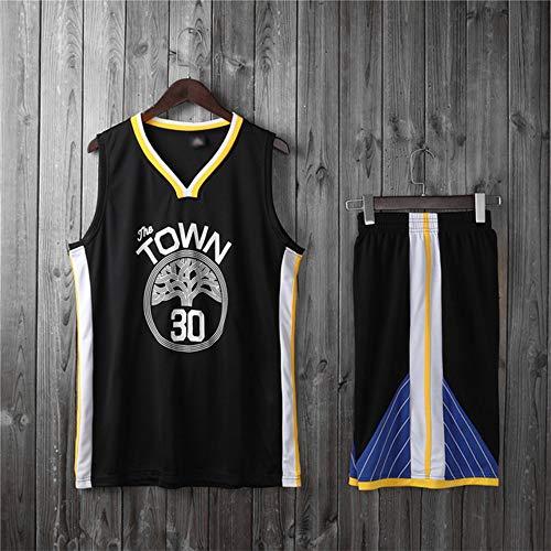 LYY Camisetas De Baloncesto para Hombre, NBA Golden State Warriors # 30 Stephen Curry - Uniformes De Chaleco para Niños Y Adultos Conjunto De Camisetas Sin Mangas Clásicas,Negro,XL(Child) 145~155CM