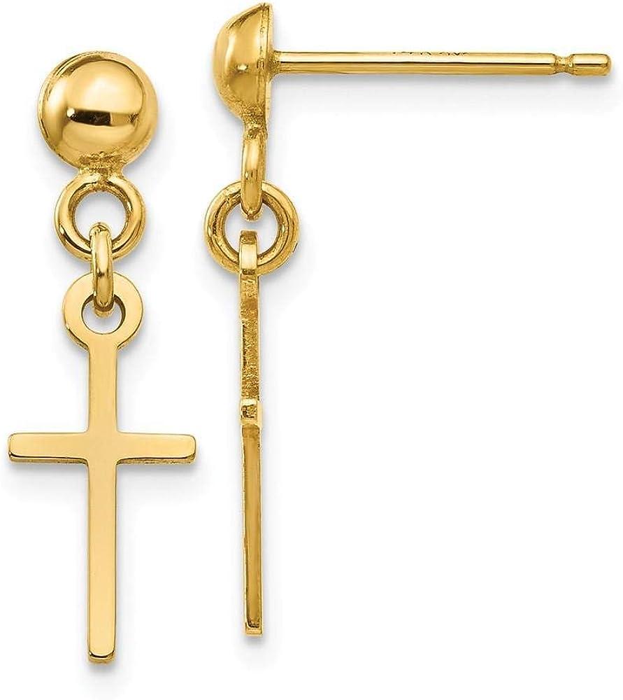 14k Yellow Gold Polished Cross Dangle Post Earring