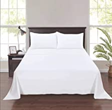 IBEX Bedding Collection - King Size (260x240 cm) Cotton Bed Sheet Set - 3 Pcs White High Quality Luxury Bedding Sets - Sof...