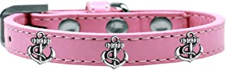 Mirage Pet Products 631-22 LPK16 Silver Anchor Widget Dog Collar, Size 16, Light Pink
