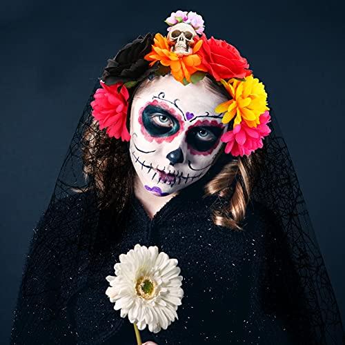 Diadema de Halloween con velo encaje negro, LINGSFIRE con encaje de malla calavera para el...