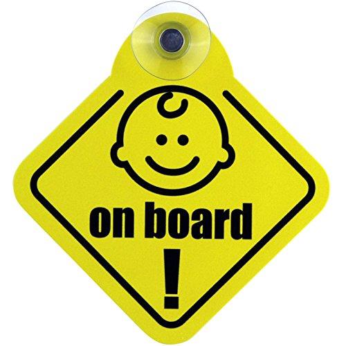 Schild Autoschild Baby on board mit Saugnapf 12 cm Saugnapfschild