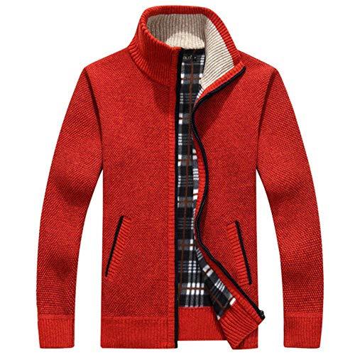 Tosisz gebreide jas voor de winter, voor heren, met lange mouwen, van fleece, met ritssluiting
