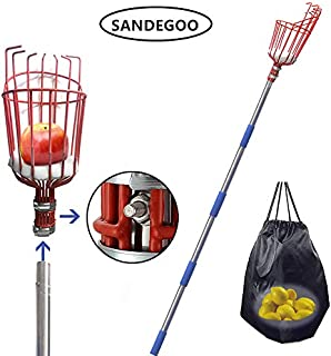 SANDEGOO Fruit Picker Tool, 8-Foot Fruit Picker with Light-Weight Aluminum Telescoping Pole, Fruit Picking Equipment for Getting Apple Oranges and Fruits Tree (8 TF)