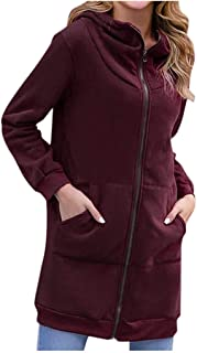 Opinionated Women Casual Zip up Hoodies Tunic Sweatshirt Long Hoodie Jacket Pockets Tunic Sweatshirt