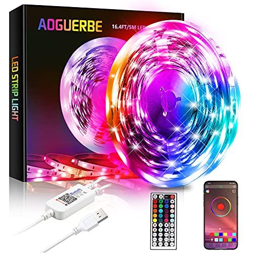 USB Luces LED 5M , AOGUERBE Tiras LED RGB con Remoto Control & APP Controlada Tira de Luz de Cambio de Color de Música para la Habitación, Pared, Escaleras, Camera Da Letto, Cucina, TV, Feste
