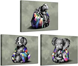 Kreative Arts 3 Pieces Funny Animals Meditation Canvas Painting Turtle Elephant Dog Posters Giclee Prints Wall Art Modern Wall Decor Gallery Canvas Wrap Giclee Print Stretched and Ready to Hang