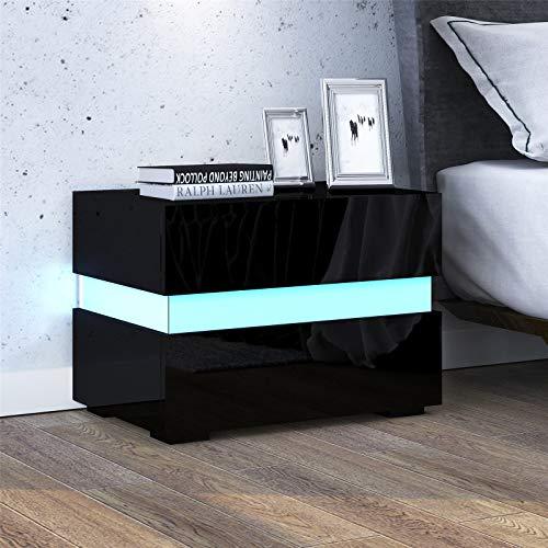UNDRANDED 2 Schubladen Nachttisch mit Hochglänzendem RGB LED Streifen Moderne Nachtschrank für Schlafzimmer Wohnzimmer 60 x 39 x 45cm (Schwarz)