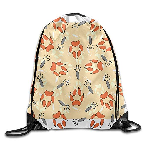 fengxutongxue Animal Footprints Drawstring Backpack Travel Bag Gym Outdoor Sports Portable Drawstring Beam Port Backpack for Girl Boys Woman Female