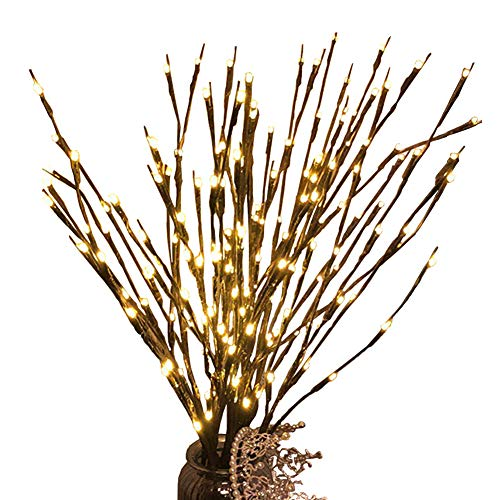 3 Pcs Warm White 20 LED Lighted Twig Branches Battery Operated Artificial Tree Lights Willow Branch Lamp for Home Decor Holiday Party Decoration