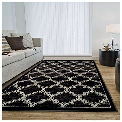 Superior Bohemian Trellis Collection Area Rug, 8mm Pile Height with Jute Backing, Chic Geometric Trellis Pattern, Fashionable and Affordable Woven Rugs - 5' x 8' Rug, Black