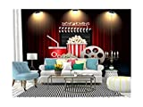 SKIWAMural Self Adhesive Wallpaper Roll Paper Cinema Movie Theater Object on Curtain ;Sign Removable Peel and Stick Wallpaper Decorative Wall Mural Posters Home Covering Interior Film