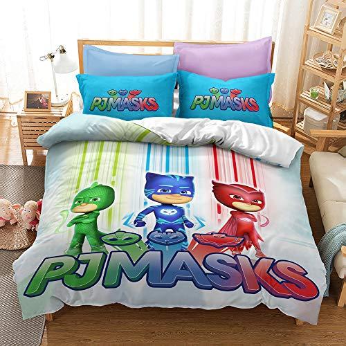 Meiju Microfiber Duvet Cover Set for Boys Girls, Cartoon Little Hero Printing Single Double King Size Kids Bedding Set Easy Care Children Quilt Covers and Pillowcases (PJ Heros E,220x240cm)