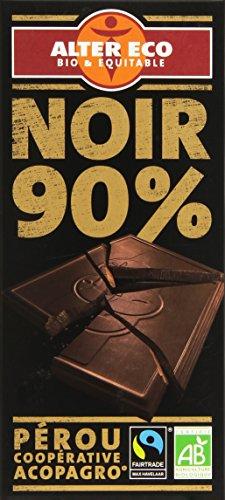 Alter Eco Tablette de Chocolat Noir 90% Bio et Equitable 100 g - Lot de 7