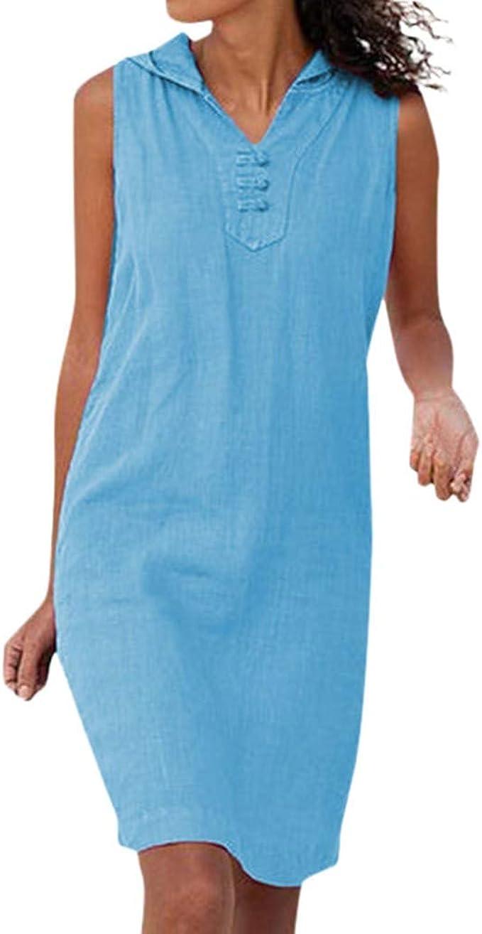 Merical Sommer Kleider Fur Damen Frauen Beilaufiges Sleeveless Normallack V Ansatz Mit Kapuze Kleid Strand Sommer Kleid Blau Medium Amazon De Bekleidung