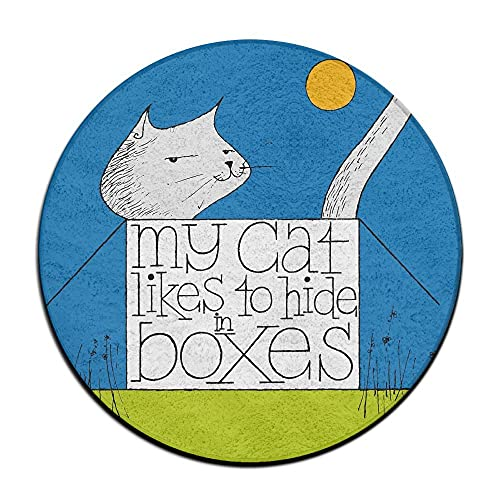 N\A Felpudo Antideslizante Cat Kitty Likes in Box Alfombras de área Redonda de Terciopelo Coral Alfombras de Espuma viscoelástica Alfombras de Piso Alfombra de Dormitorio Alfombra de Silla de Yoga