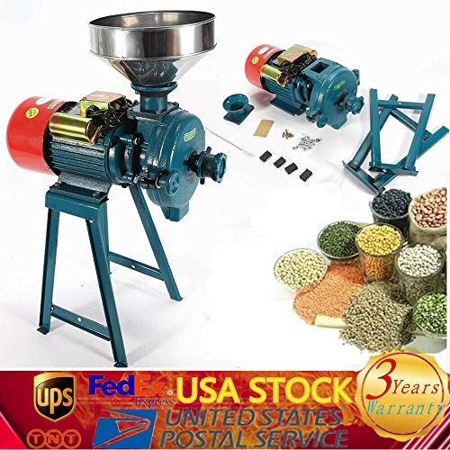 Mill Grinder, Electric Grinder Machine Grain Dry Feed Flour Milling Machine Cereals Grinder Rice Corn Dry Cereals Coffee Wheat with Funnel 1500W (US Shipping) (110V) -  DONSU