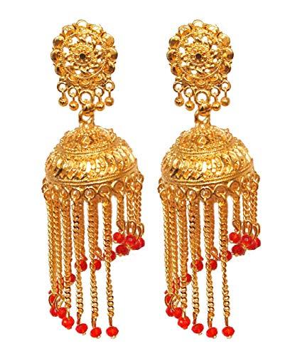 Pahal - Pendientes largos chapados en oro con borla de perlas rojas, estilo indio Bollywood, joyería nupcial para mujer (diseño 7)
