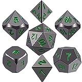 SIQUK Metal Polyhedral 7-Die Dice Set, Negro Brillante Pintado y números Verde Oscuro Zinc aleación Dice con Metal, Juego de rol Juego de Dados fijado para Mazmorras y Dragones RPG Dice Gaming D & D