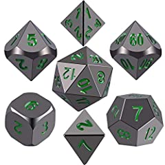 7-Die metal dice set - contains one of each D4, D6, D8, D10 numbered 0-9, D10 marked in tens 00-90 for percentages, D12, and a D20 High grade quality - made from zinc alloy material, shiny black painted and dark green numbers solid metal dice, waterp...