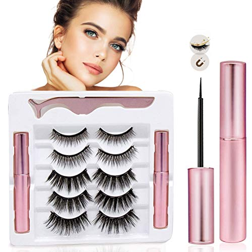 Magnetic Eyelashes with Eyeliner-Magnetic Eyeliner and Magnetic Eyelash Kit-Eyelashes With Natural Look-Comes With Applicator-No Glue Needed [5 Pairs, 2 Eyeliners]