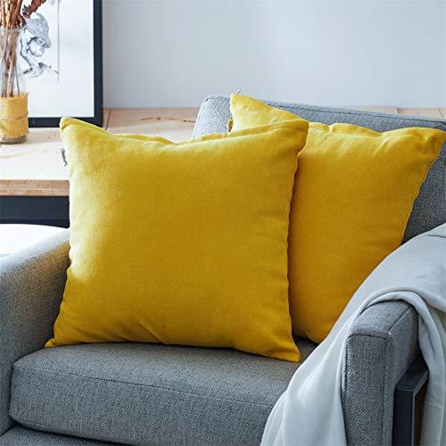 Topfinel Juego 2 Fundas Cojines Hogar Algodón Lino Decorativa Chenilla Almohadas Fundas de Color sólido para Sala de Estar sofás Amarillo 50x50cm