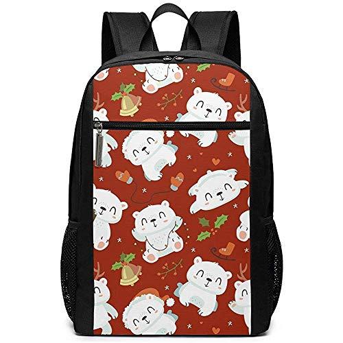 Borsa a tracolla casual per laptop con zaino a forma di orso polare in stile cartone animato di Natale